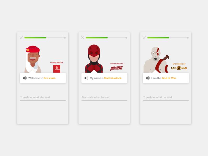 Duolingo Sponsored Exercises