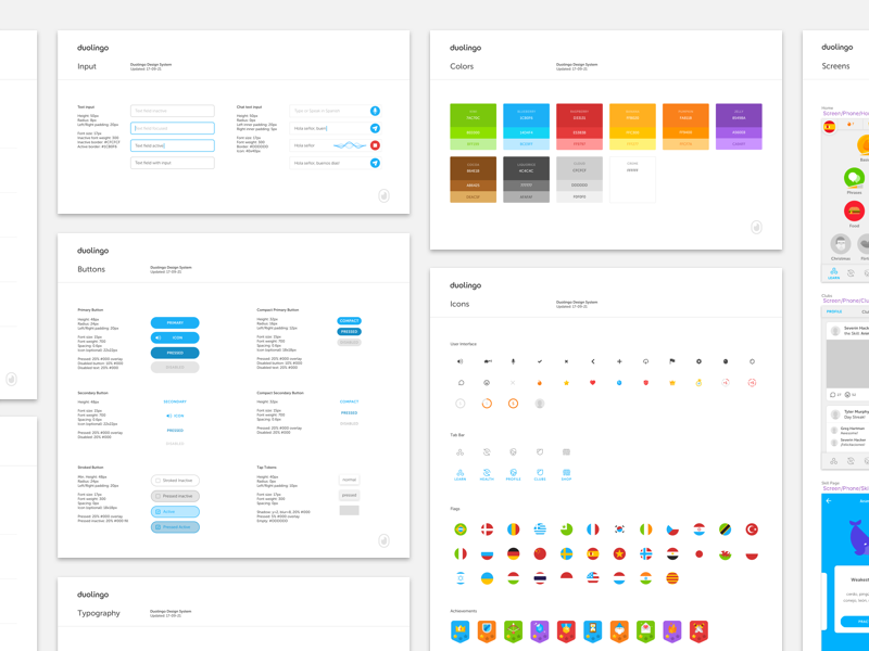 Duolingo Design System 1.0 freebie manual branding duolingo elements brand styleguide guidelines system design palette color