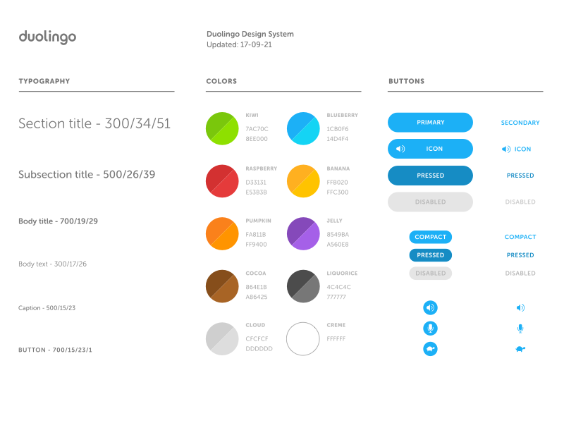 Duolingo Design System Elements ui system styleguide palette icons guidelines elements duolingo design color branding brand