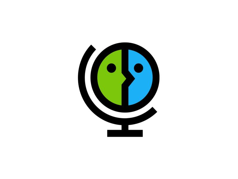 Globe/Face Logo iconic design app illustration brand identity vector simple icon brand geometric minimal branding identity mascot face colorful minimal thick lines globe logo branding
