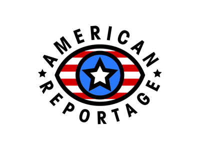 American Reportage Logo vector design icon identity brand minimal colorful star eye flags united states usa american flag thick lines simple geometric brand identity branding logo