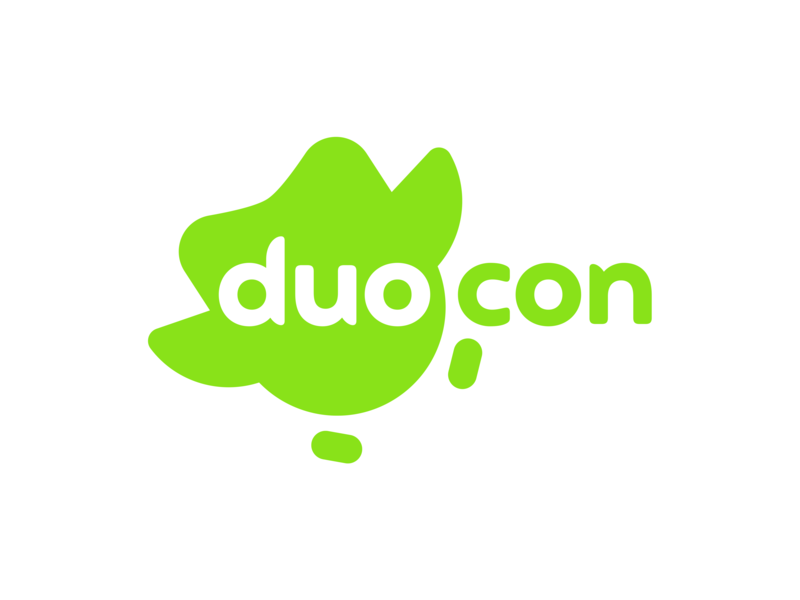Duocon Logo illustration vector typography design icon brand identity brand identity simple duocon logo branding branding and identity duolingo wordmark geometric minimal branding design brand identity design rebrand
