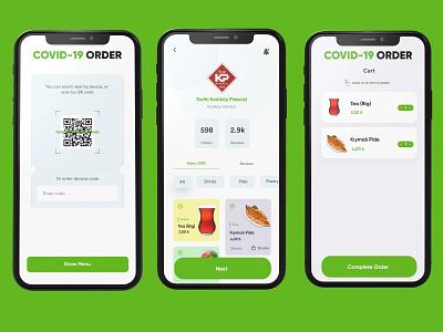 Covid-19 Order App phone mockup corona covid19 scan qrcode qr green figma concept button modern mobile design app ux ui