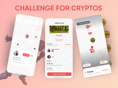 Challenge for cryptos challenge cryptocurrency crypto concept vector illustration minimal chz figma mobile app modern design ui