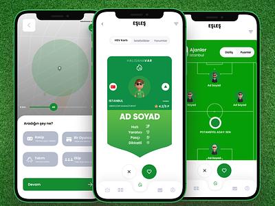 Tinder for football players green matching tinder football ui ux branding figma design modern