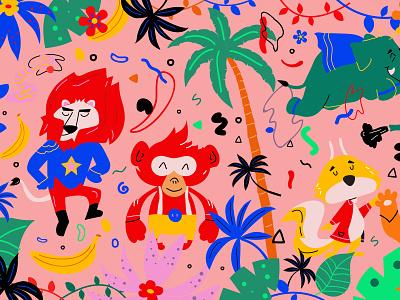mathis 1 fun colorful kids kommigraphics greece branding vector illustration pop art trees squirrel monkey elephant lion jungle book
