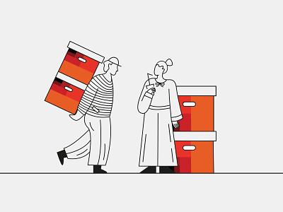 arvanitis 5 waiting boxes coffee worker kommigraphics greek vector illustration