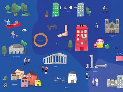 Athens map greece athens illustration studio design kommigraphics