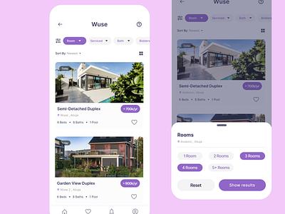 Real estate mobile app-Filter UI ux uxdesign ui product design