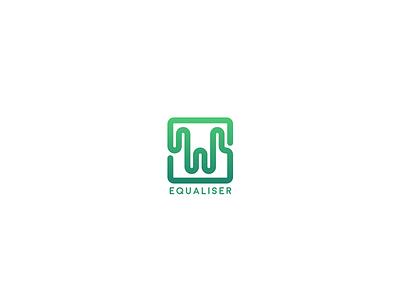 Equaliser simple icon line square box graph e logo equaliser