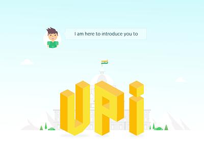 UPI landing page character minimal flat design ux ui website landing page upi