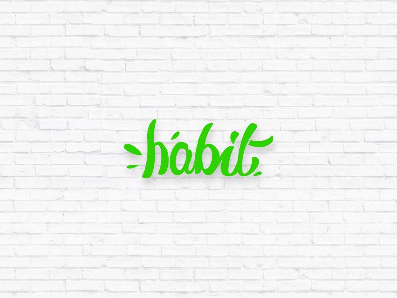Habit text minimal green fresh typography logo