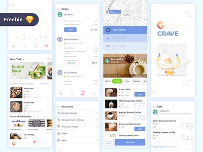 Crave app design color illustration logo icon eat order food app food app design ui ux freebie ui design minimal ux ui design app crave