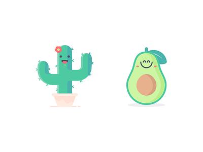 Avo N Cact icon flat illustrration art happy eat tub flower color green leaf cute vegetable design illustration cactus avocado