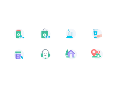 Medical Icon Set 1 pill cart bag location map house test tube medicine color icon minimal icon flat icon minimal iconography logo color medical icon