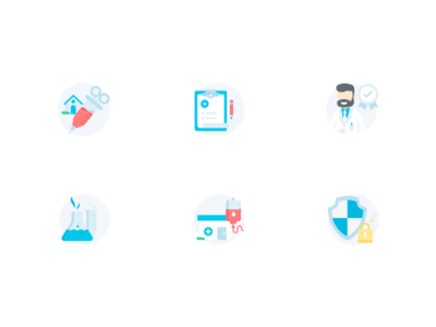 Medical Icon set 3 logo design app illustration ui design ui flat icons vector laboratory secure protect lab medicine medical doctor blood color icons icon