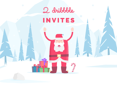 Merry Christmas tree christmas xmas rock mountain snow gift santa claus design illustration dribbble invite invite