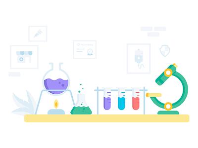 laboratory icon ui app flat minimal room microscope test tube beaker vector illustration flat design medicine medical laboratory lab