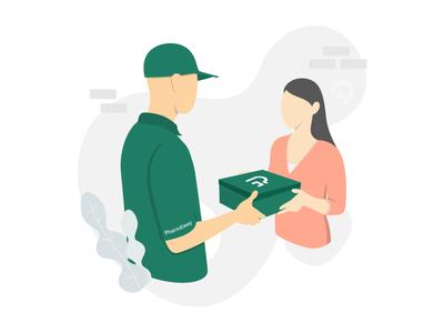 Delivered woman man flat design flat ui design minimal delivery art illustration vector art delivery illustration