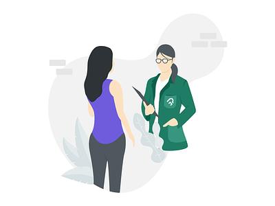 Doctor cunsultation flat minimal graphic  design conversation talk flat design vector illustration medicine medical
