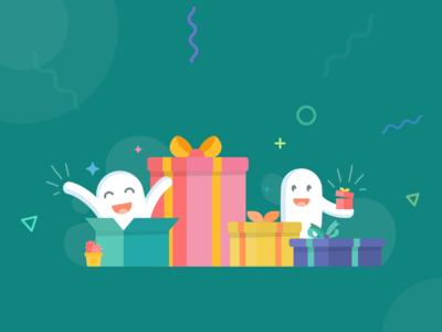 Offers Illustration ui design abstract confetti app branding minimal vector gift box box offer gift pharmeasy green flat illustration happy illustration ui offer page