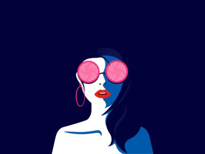 Trippy Eyes eyes sunglass fashion woman female ui app flat vector minimal illustration