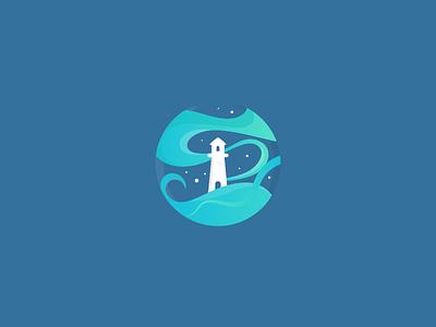 Whimsical Lighthouse negative space ocean waves water night sky light house logo deisgn illustration flat branding minimal logo