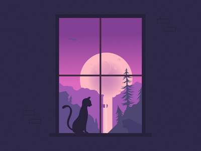 peek tree sky moon illustration night illustration night moon illustration landscape window cat landscape illustration window illustration cat illustration