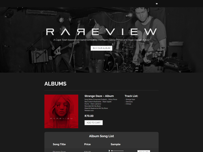 Rareview - Record Sales ECommerce Website bandmerch brand website web design website website design ecommerce shop ecommerce design