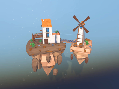 Isolation island😷 floating island scene house table cute skycity sky city sky windmill barrel cactus animation illustration low poly design google cinema4d 3d world low poly