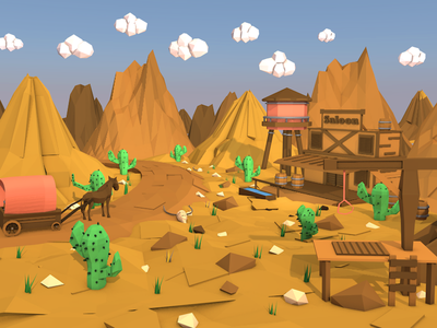 Low poly Wild West game design game saloon uiux donkey cactus c4d 3d illustration wildwest wild west lowpoly