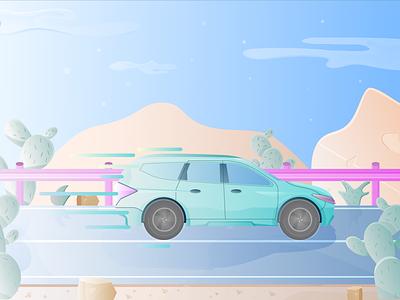 Fast Drive cactus game design game cute design uiux mitsubishi car road desert flat illustration