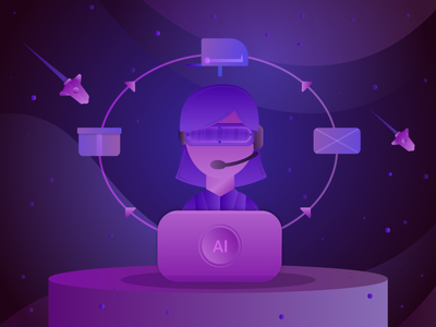 AI assistant🤖 flat illustration flat galaxy space rocket help helper chatbot bot ai assistant assistant futuristic gradients illustration uiux ai ux