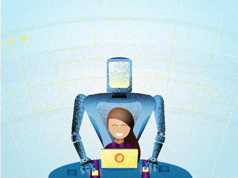 Big bot helper:) helper robot helper bot chat bot shady shaders work calm girl helper bot robot ui ai