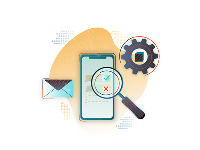 Message delivery checker concept cool pattern dots phone maginfier abstract send imessage ux concept illustration delivery sms message uiux