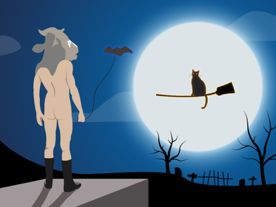The Cow guy versus The Witch Cat. spooky cow cat halloween vector illustration