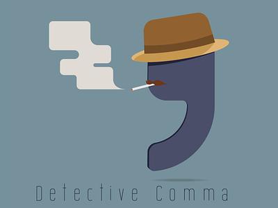 Detective Comma comma detective funny vector illustration