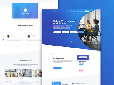 Recruitment Agency Redesign Concept web design blue gradients recruitment ui ux ux flows the special something ui design ux design user interface design user experience design