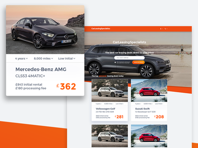 Vehicle Leasing - Web & UI Redesign Concept modern orange automotive leasing ui ui design web design