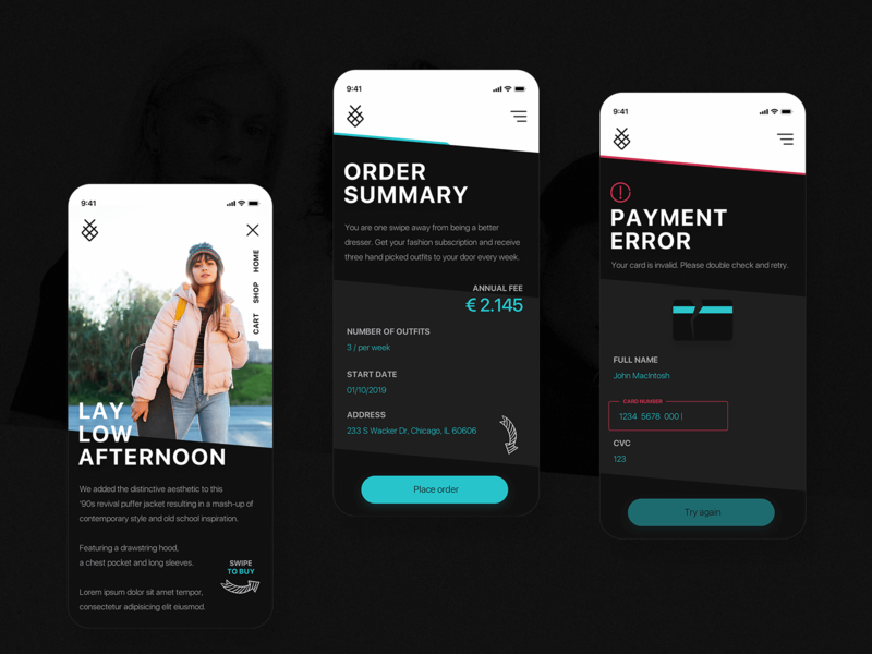 Fashion Platform Design checkout order error ui user interface clean fashion design ux mobile first mobile ui payment clothing fashion app fashion