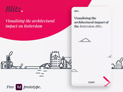 Blitz. // Visualising the architectural impact of WWII adobe adobe xd free blitz freebie xd freebie skyline rotterdam world war 2 war ui user interface ux design ux high-fidelity prototype app design architecture madewithxd madewithadobexd