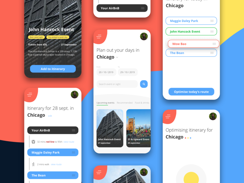 AI Travel Itinerary App user-flow app design event app planner chicago drag and drop mobile design mobile app mobile ui itinerary travel app travel ux design clean design ux ui ui design user interface artificial intelligence ai