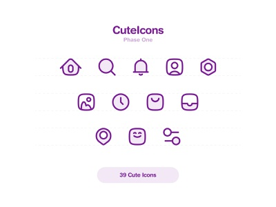 39 CuteIcons Set vector illustration ux app ui iconography icons pack icons design cute design iconset icons