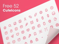 Free 52 - CuteIcons Round Set donwload gumroad free icongraphy icon set pack set cute icons