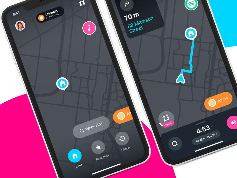 Free Waze UI Redesign adobexd xd free ux ui user experience user interface google maps ios redesign travel uber gps waze