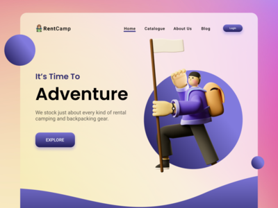Web Design - Rent Camping Stuff website design website 3d 2020 trend blurred background web app ui branding illustration design ux