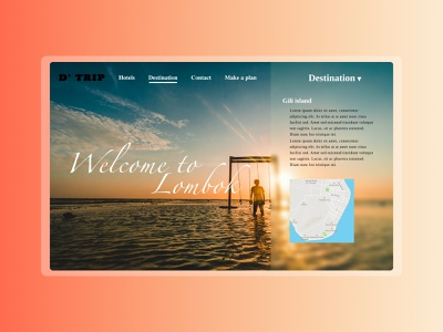 Travel web design flat design web ux ui