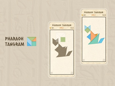 Egypt tangram / mobile game / app tangram ui ux design illustration website design webdesign tangram ui ux mobile app design mobile app
