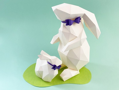 Easter Time 3d artist 3d illustration rabbits paper paper art papersculpture papercut papercraft