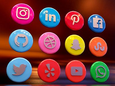 Social Media Icons 3d modeling brand icon socialmedia